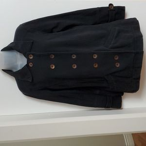 ROOTS Black Fleece lined Pea Coat M L 36-38 bust